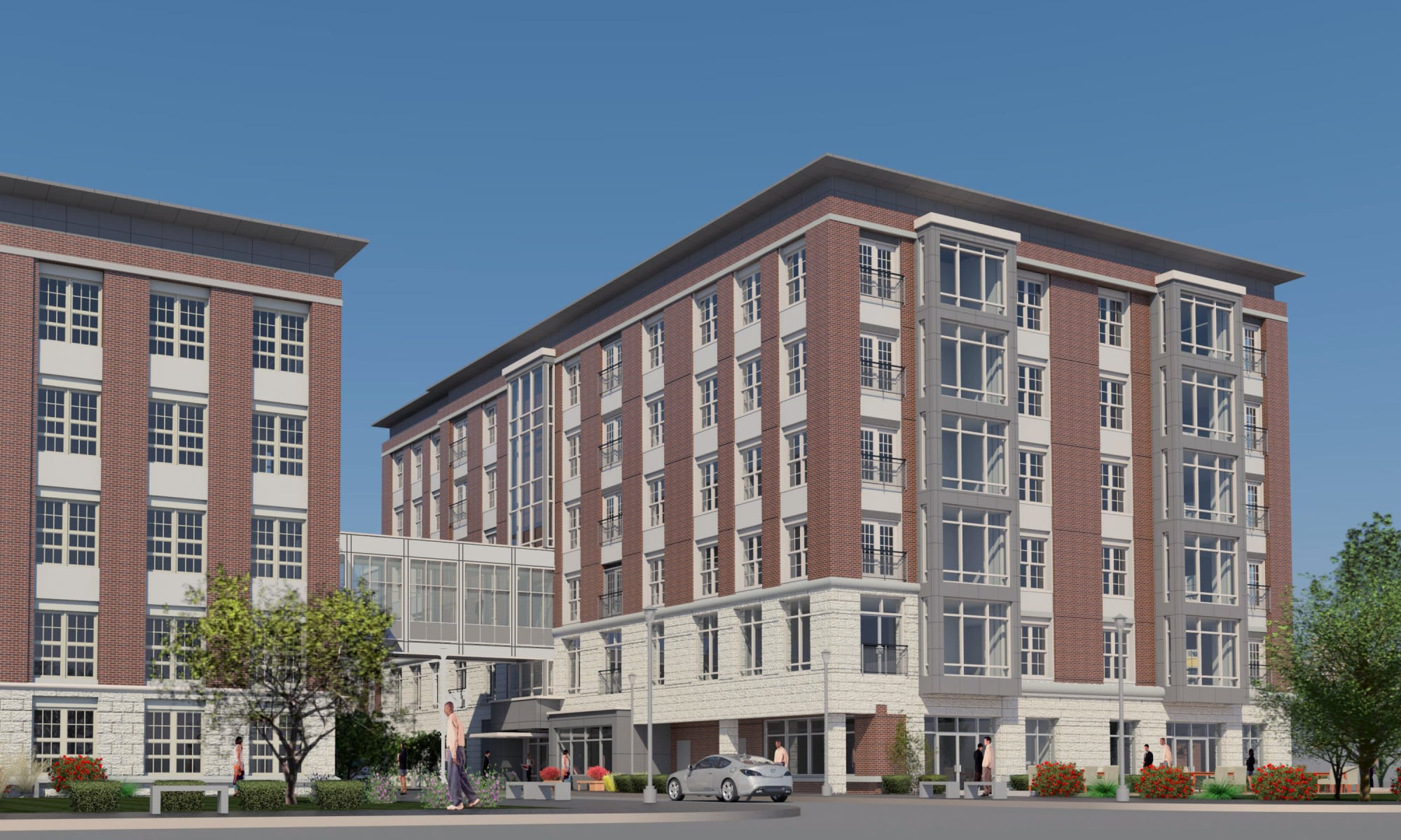 Rendering of the exterior of The Harper at Harmon Meadow