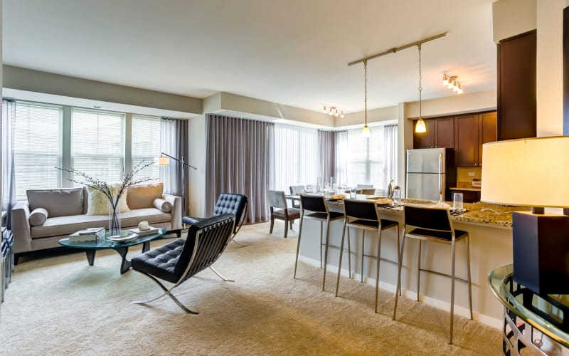 Bright open living space at The Oaks Of Vernon Hills in Vernon Hills, Illinois