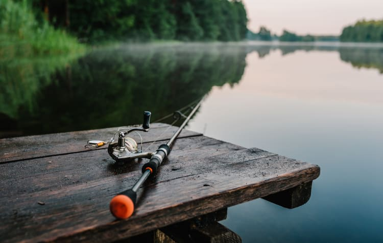 Fishing pole on a dock at American Legion Park near The Establishment at 1800 in Missouri City, Texas