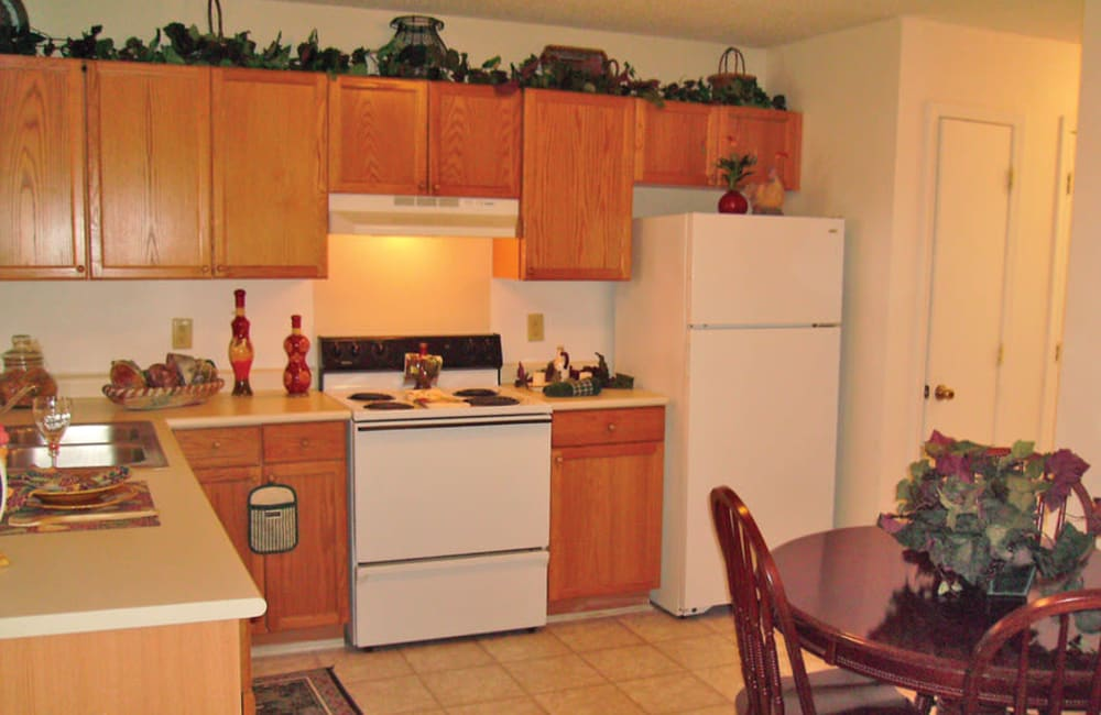 Kitchen with plenty of cabinet space at Station 153 Apartment Homes in Anderson, South Carolina