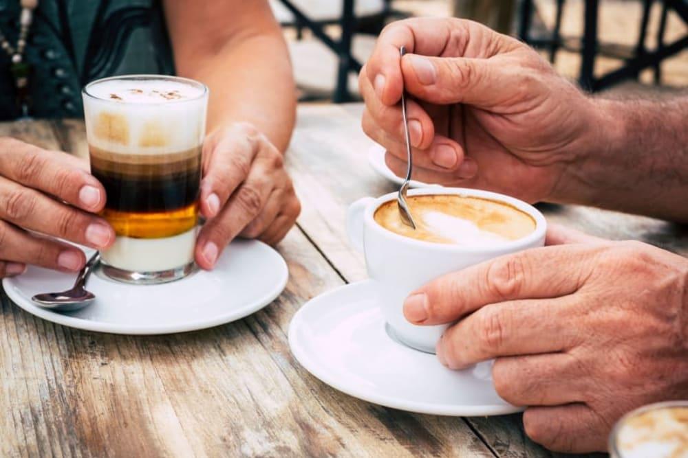Residents enjoy coffee and tea at Broadwell Senior Living in Kearney, Nebraska