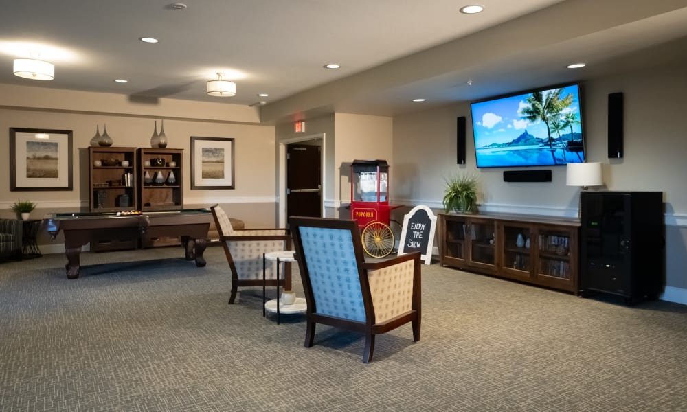 Movie room  at The Sanctuary at St. Cloud in St. Cloud, Minnesota