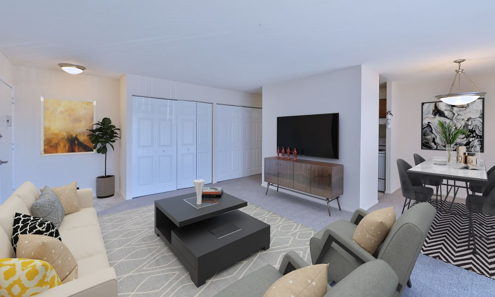 Spacious living room at Morningside Apartments & Townhomes in Owings Mills, Maryland