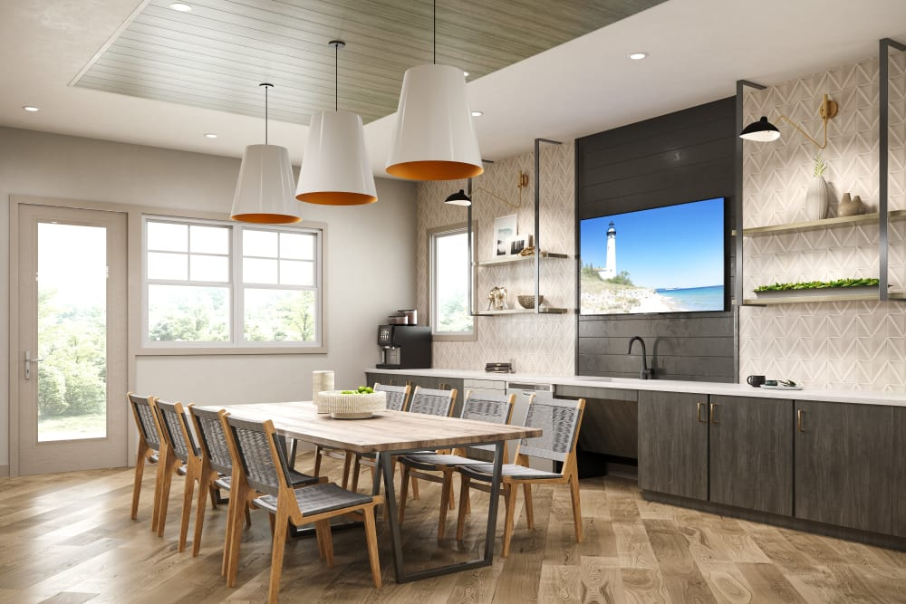 A spacious kitchen in the clubhouse at Chelsea Park West in Traverse City, Michigan