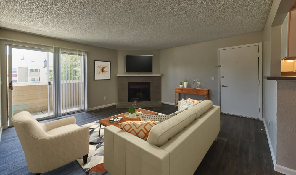 Model living room at Montair Apartment Homes in Thornton, Colorado