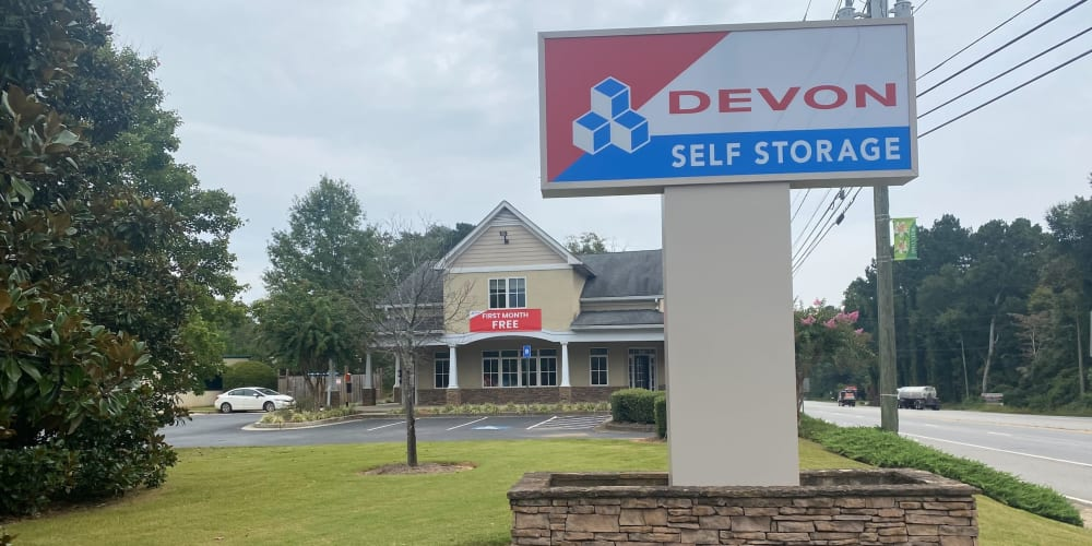 Signage and Exterior of leasing office at Devon Self Storage in Athens, Georgia