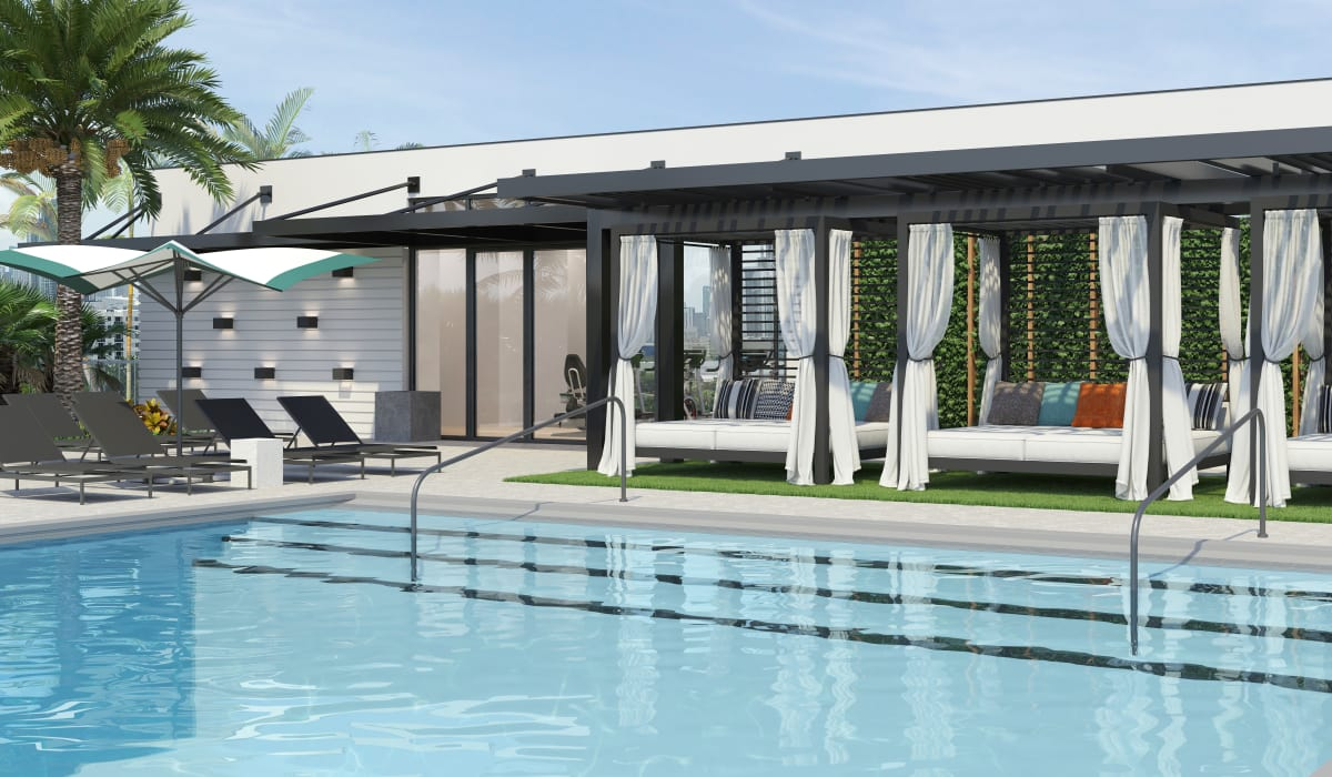 Outdoor pool at Yard 8 in Midtown Miami, Florida