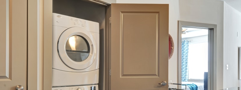 Laundry room at The Mark at Brickyard Apartment Homes in Beltsville, Maryland.