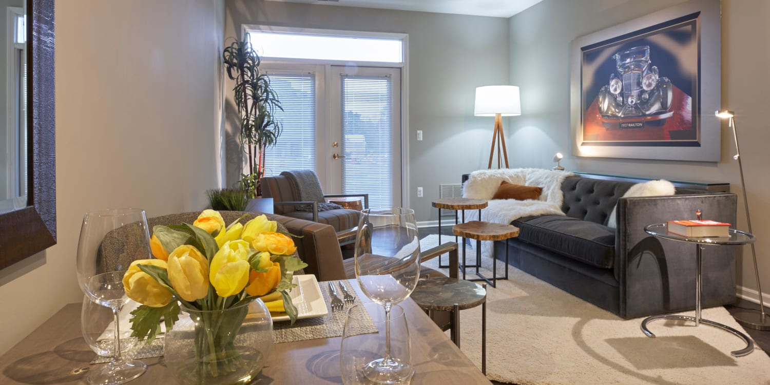 Modern decor in the living area of a model home at Uptown Ann Arbor in Ann Arbor, Michigan