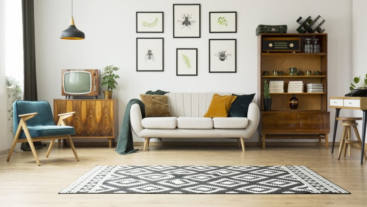 Throw rug nicely anchoring the room in a resident