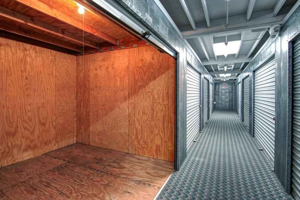 Interior units with lights at Sorrento Valley Self Storage
