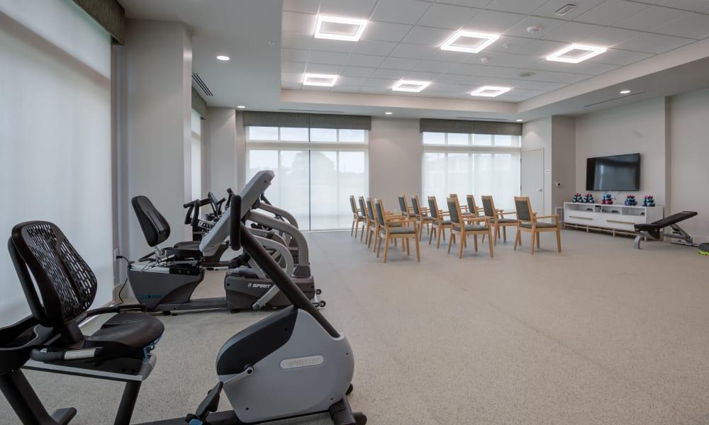Fitness room at Merrill Gardens at Columbia in Columbia, South Carolina.