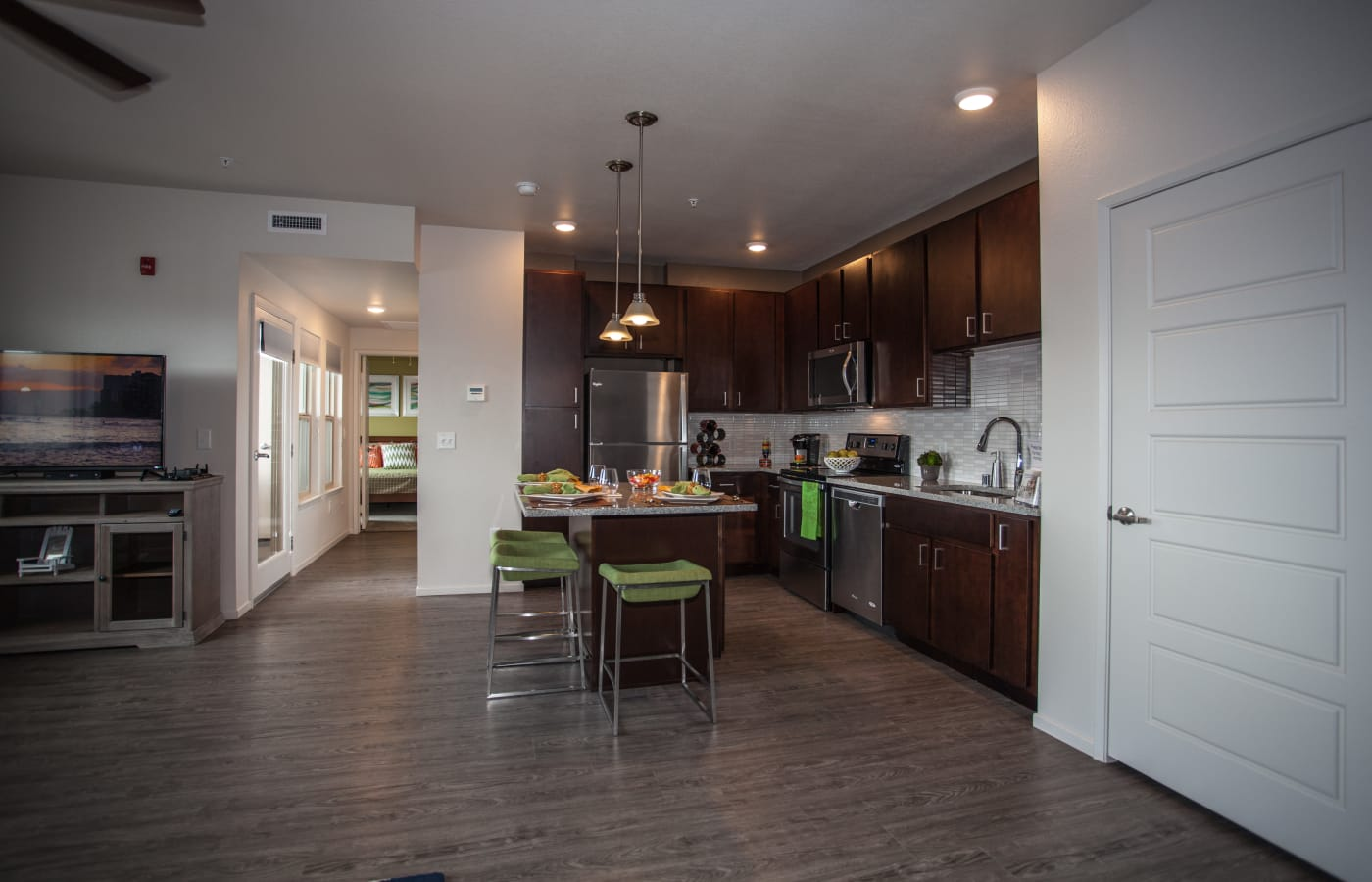 Beautiful open-concept layout in model home at Kapolei Lofts in Kapolei, Hawaii