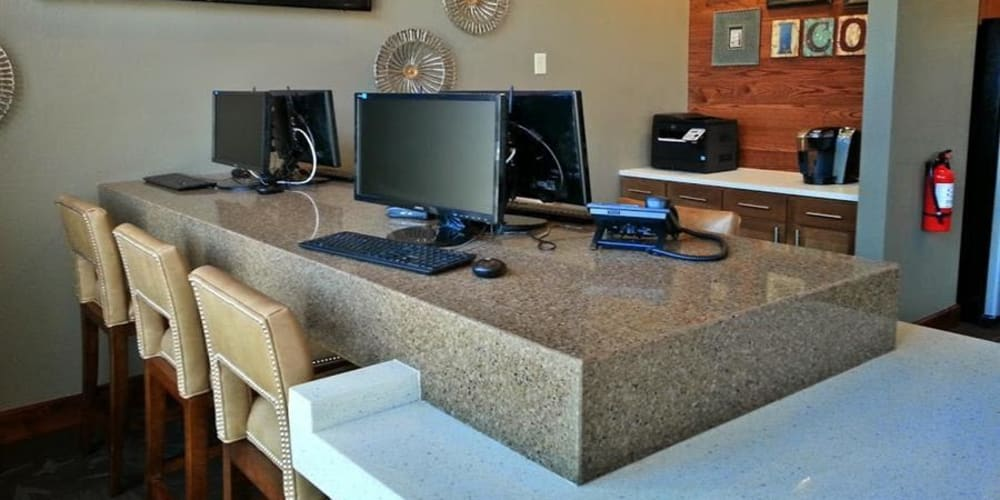 Computers for resident use at Icon at Broken Arrow's business center in Broken Arrow, Oklahoma