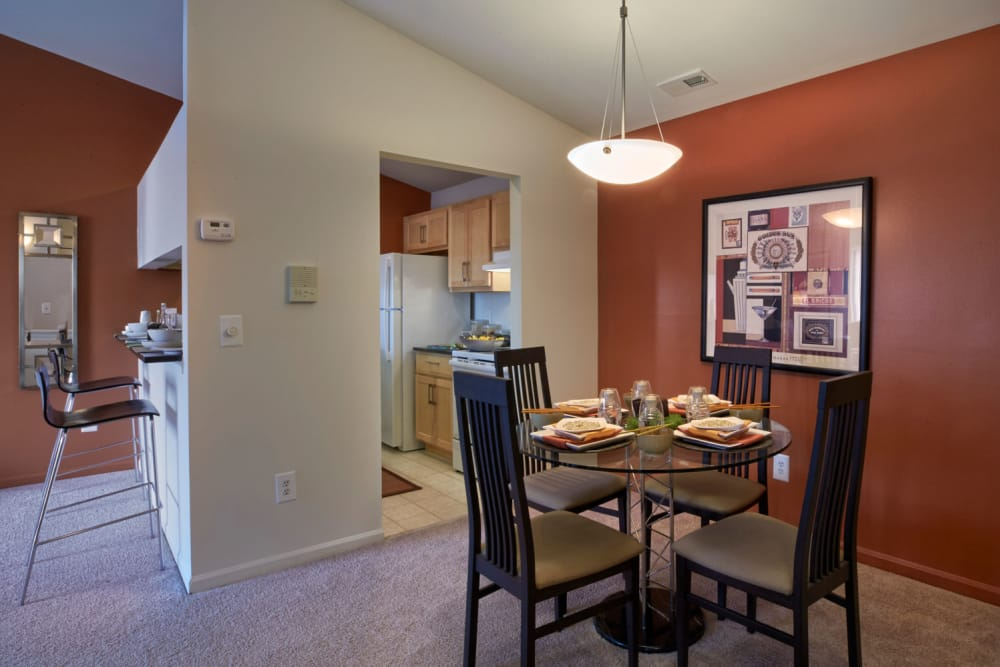 Model dining room at Lakeside Terraces in Sterling Heights, Michigan