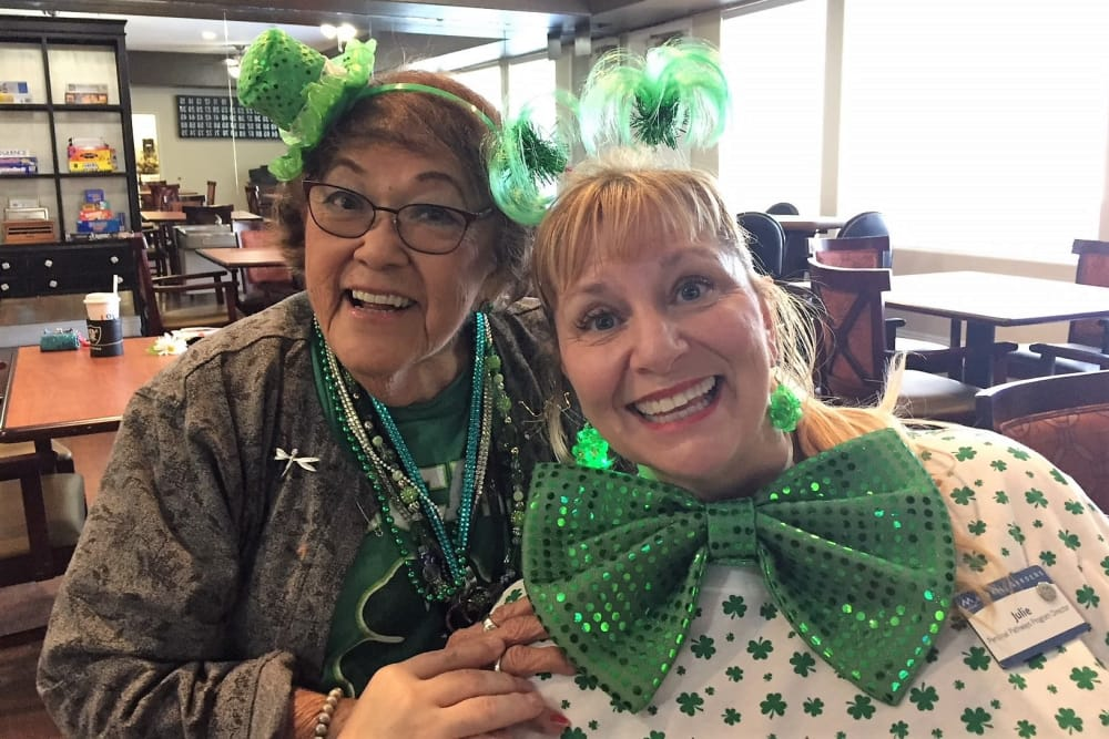 staff and resident enjoying St. Patrick's day party