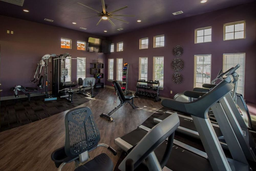 Fitness center at Watercress Apartments in Maize, Kansas