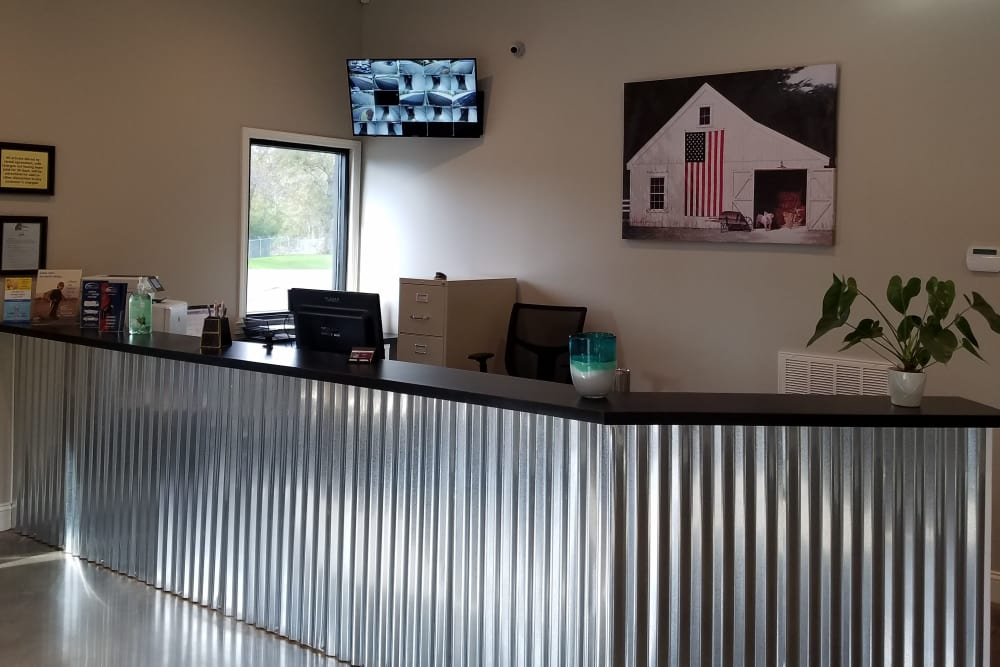 Welcoming front desk at American Self Storage in Maylene, Alabama