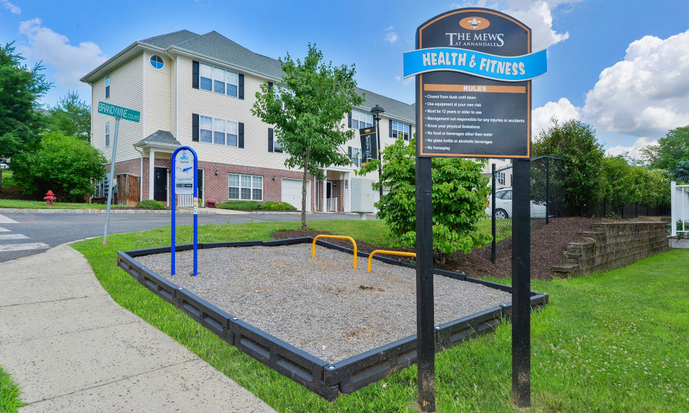 Outdoors health and fitness equipment at Mews at Annandale Townhomes
