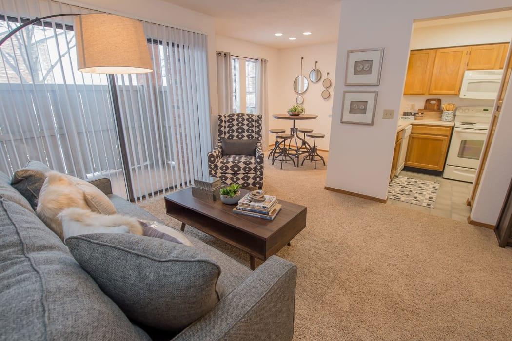 Living room at The Warrington Apartments in Oklahoma City, Oklahoma