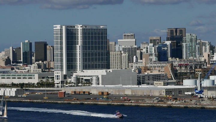 Port of San Diego with buildings boats and a loading dock