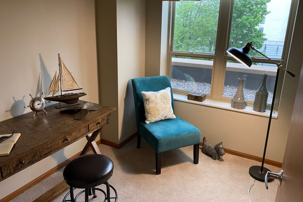 A seating nook at Aurora on France in Edina, Minnesota.