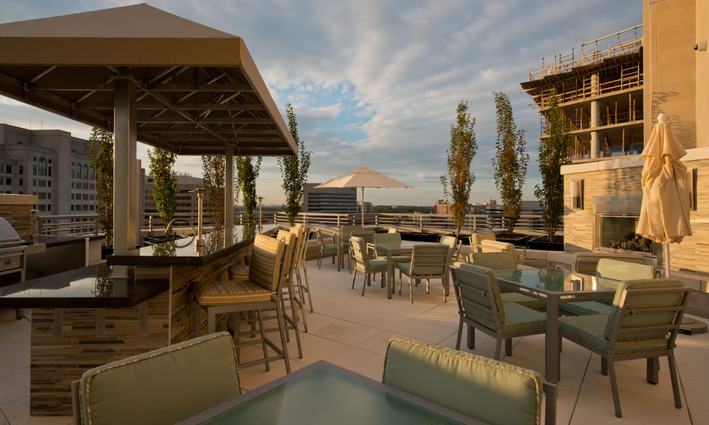 A rooftop lounge with a view at Solaire 1150 Ripley in Silver Spring, Maryland