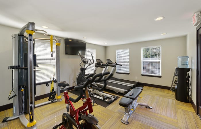Interior view of our on-site fitness center at The Row