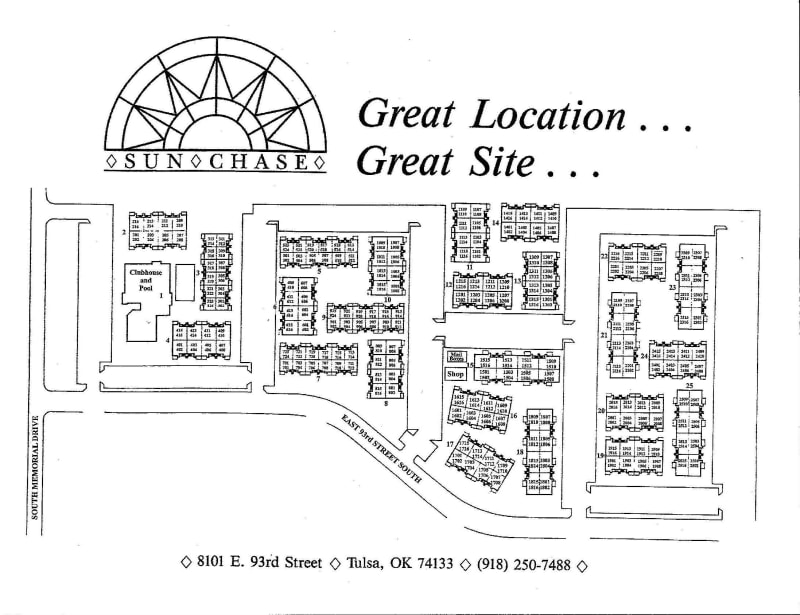 Site map for Sunchase Apartments in Tulsa, Oklahoma
