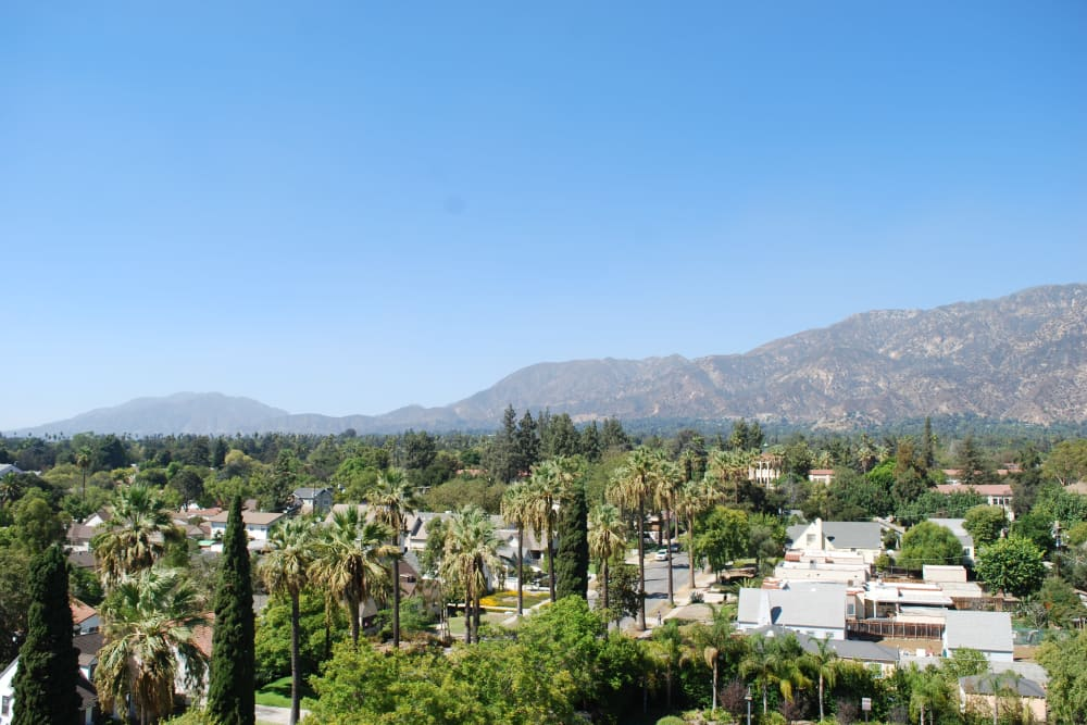A view from the balcony at Pasadena Highlands in Pasadena, California