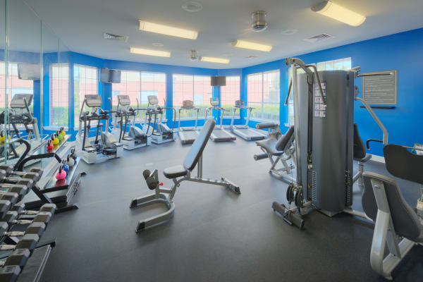 Fitness center with treadmills at Preston View in Morrisville, North Carolina