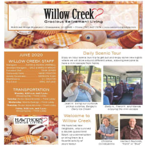 June newsletter at Willow Creek Gracious Retirement Living in Chesapeake, Virginia