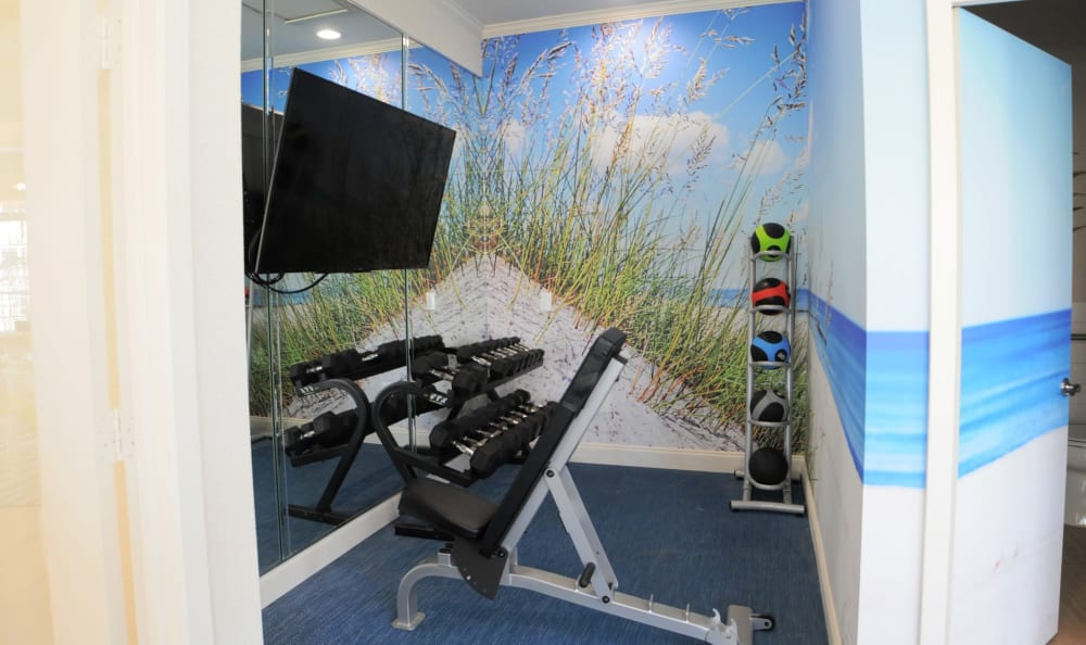 Fitness center with large screen televisions at Azure Apartments in Corpus Christi, Texas