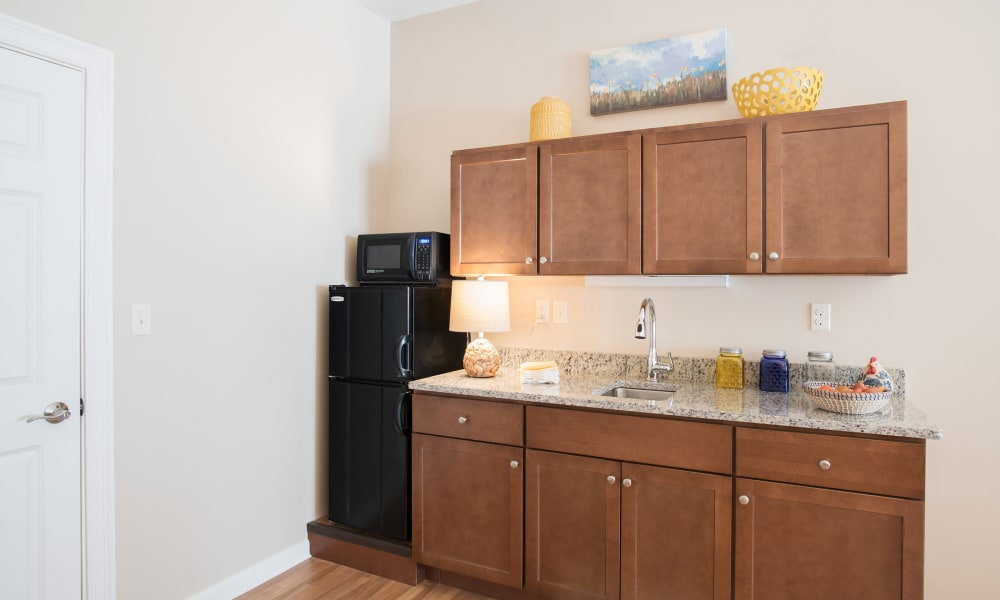 An apartment kitchen at Keystone Place at Newbury Brook in Torrington, Connecticut