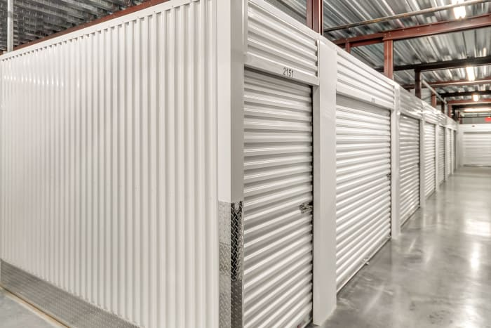 Indoor storage units with roll up doors at Space Shop Self Storage in Atlanta, Georgia
