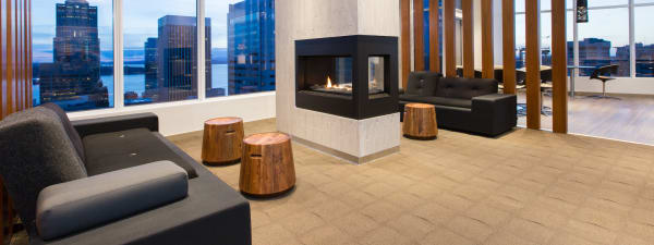 Cielo's lobby with fireplace in Seattle, Washington
