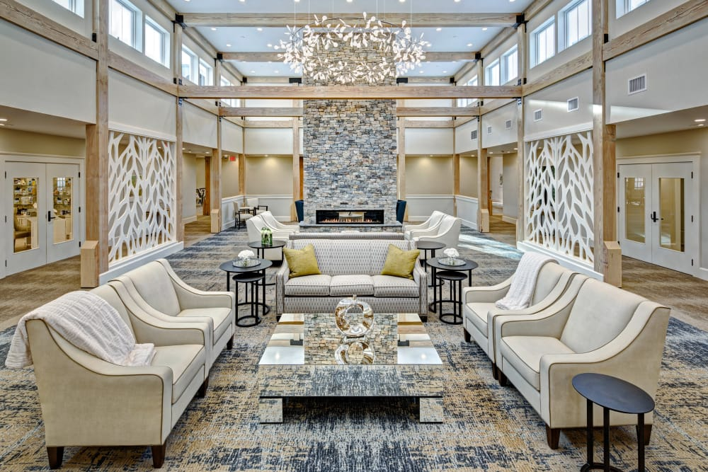 Luxurious clubhouse lobby at Maplewood Senior Living in Westport, Connecticut