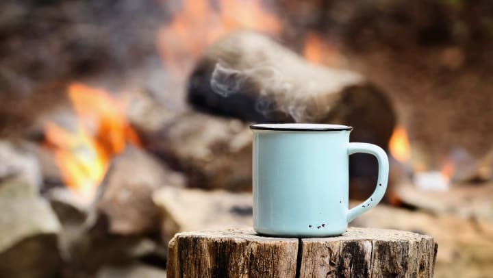 Mug on a log near a campfire in a photo on our blog at The Davis in Fort Worth, Texas