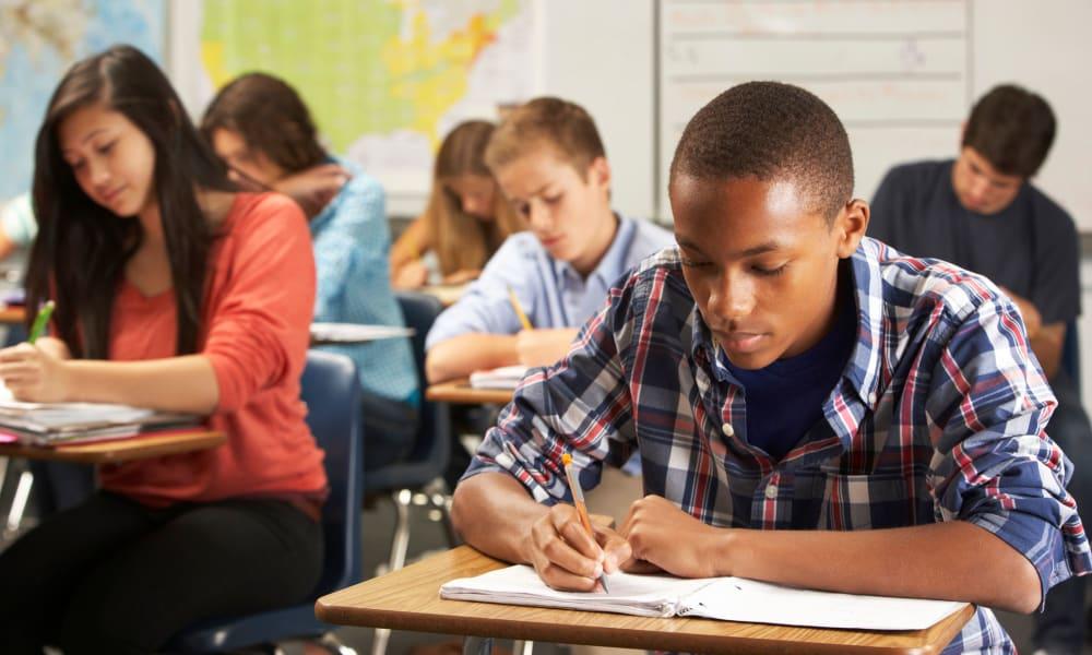 Students in class near Mariners Village in Marina del Rey, California