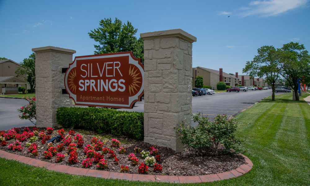 Apartment sign at Silver Springs Apartments in Wichita, Kansas
