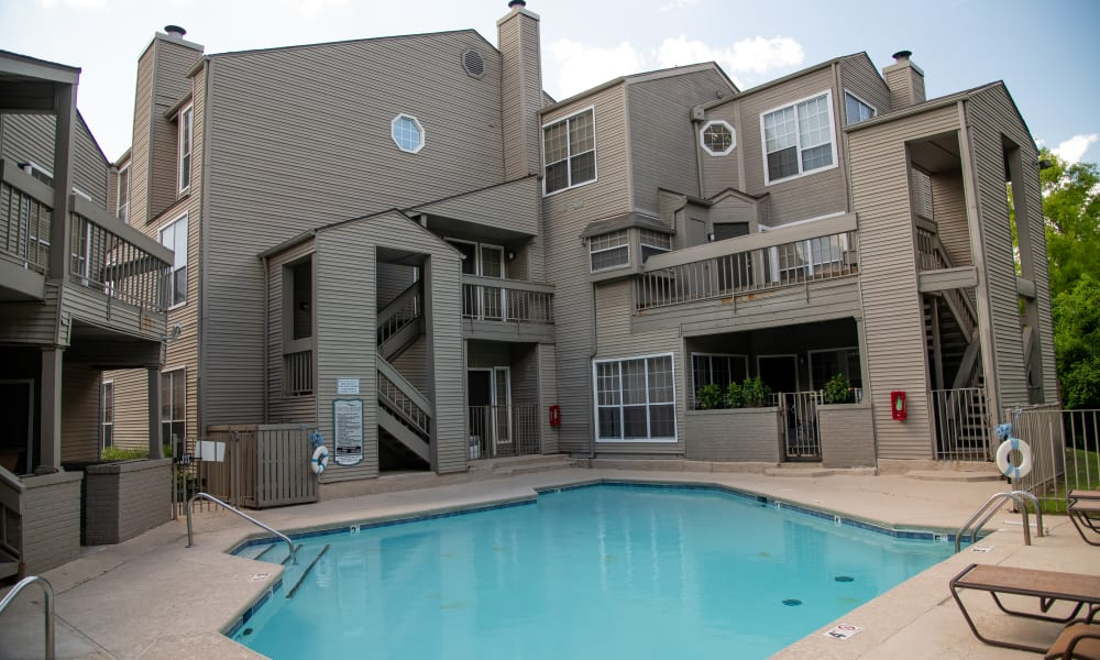Exterior pool at Creekwood Apartments in Tulsa, Oklahoma
