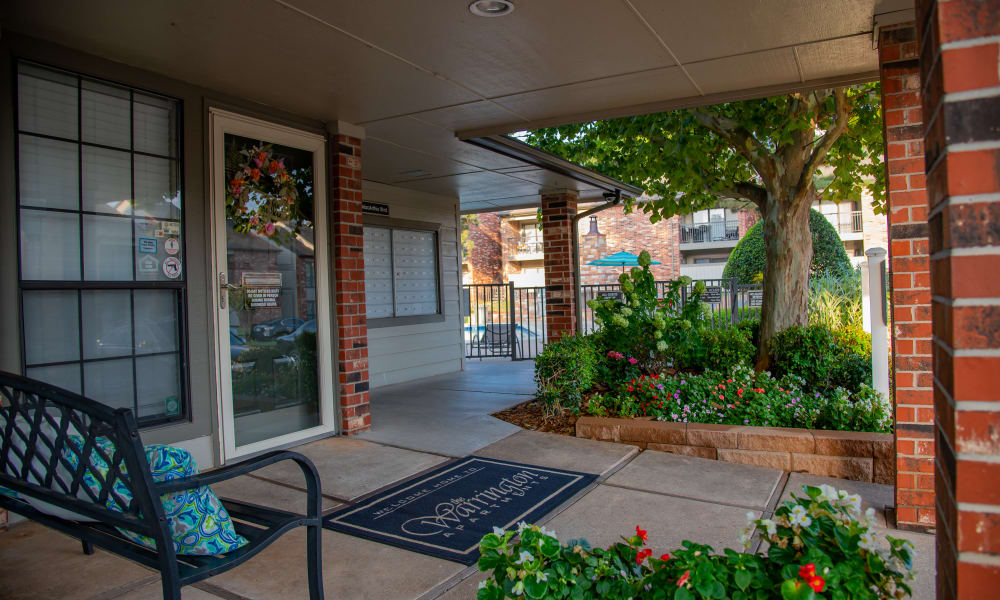 Clubhouse entrance at Warrington Apartments in Oklahoma City, Oklahoma