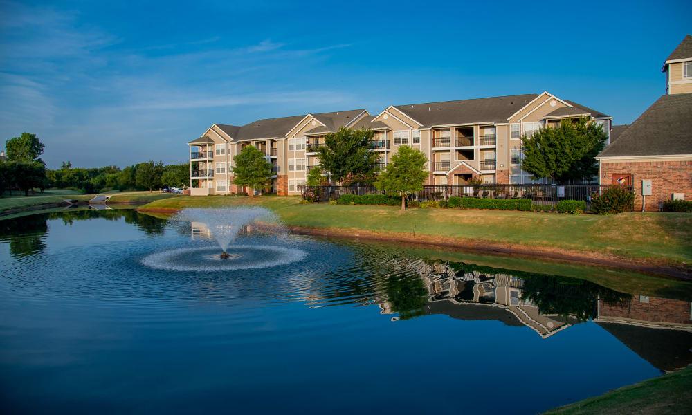 Pond and fountain at Prairie Springs in Oklahoma City, Oklahoma