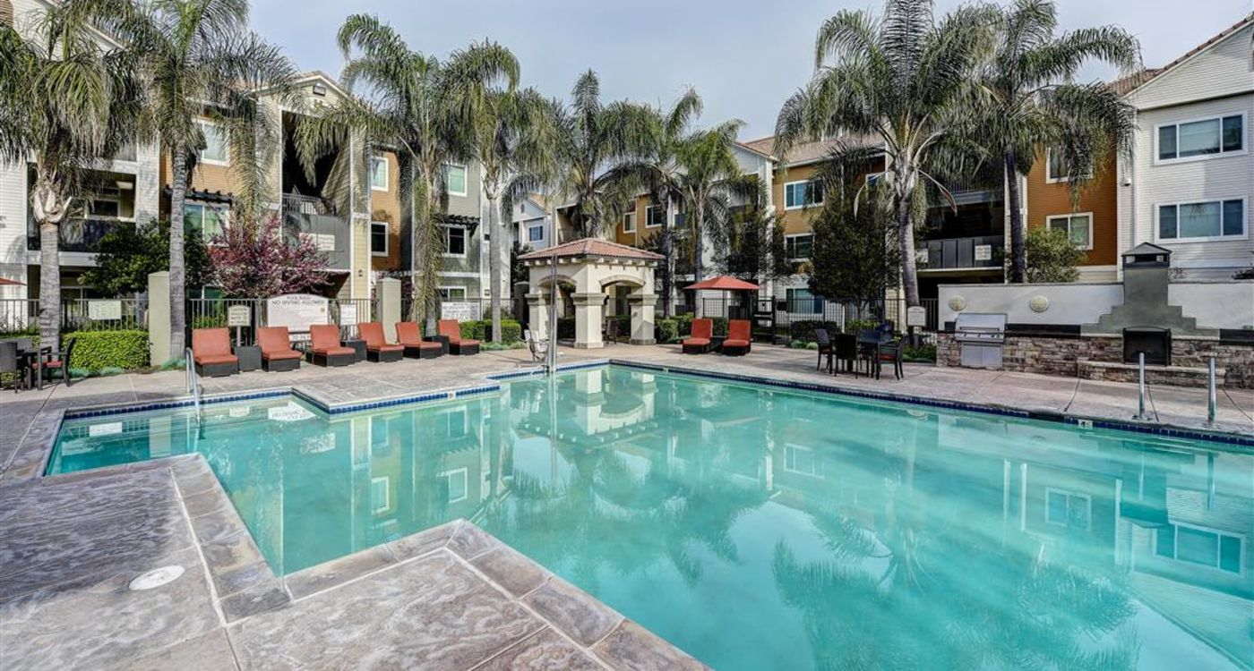 Beautiful swimming pool area surrounded by palm trees and chaise lounge chairs at Sierra Oaks Apartments in Turlock, California