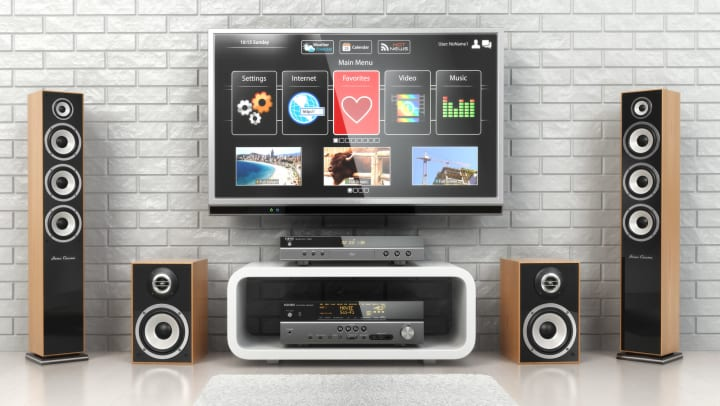 Home cinema system with speakers and a large tv