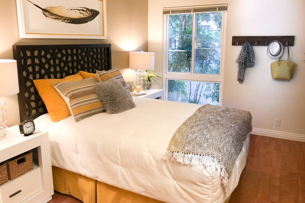 Cozy bedroom at Brookdale Apartments in San Jose, California