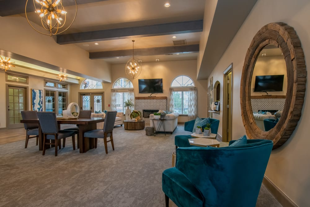 Interior clubhouse with vaulted ceilings at Tuscany Place in Lubbock, Texas.