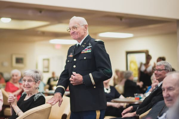 A veteran being recognized at Fairview Estates Gracious Retirement Living in Hopkinton, Massachusetts