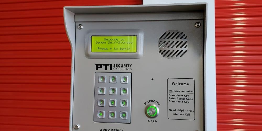 Intercom at Devon Self Storage