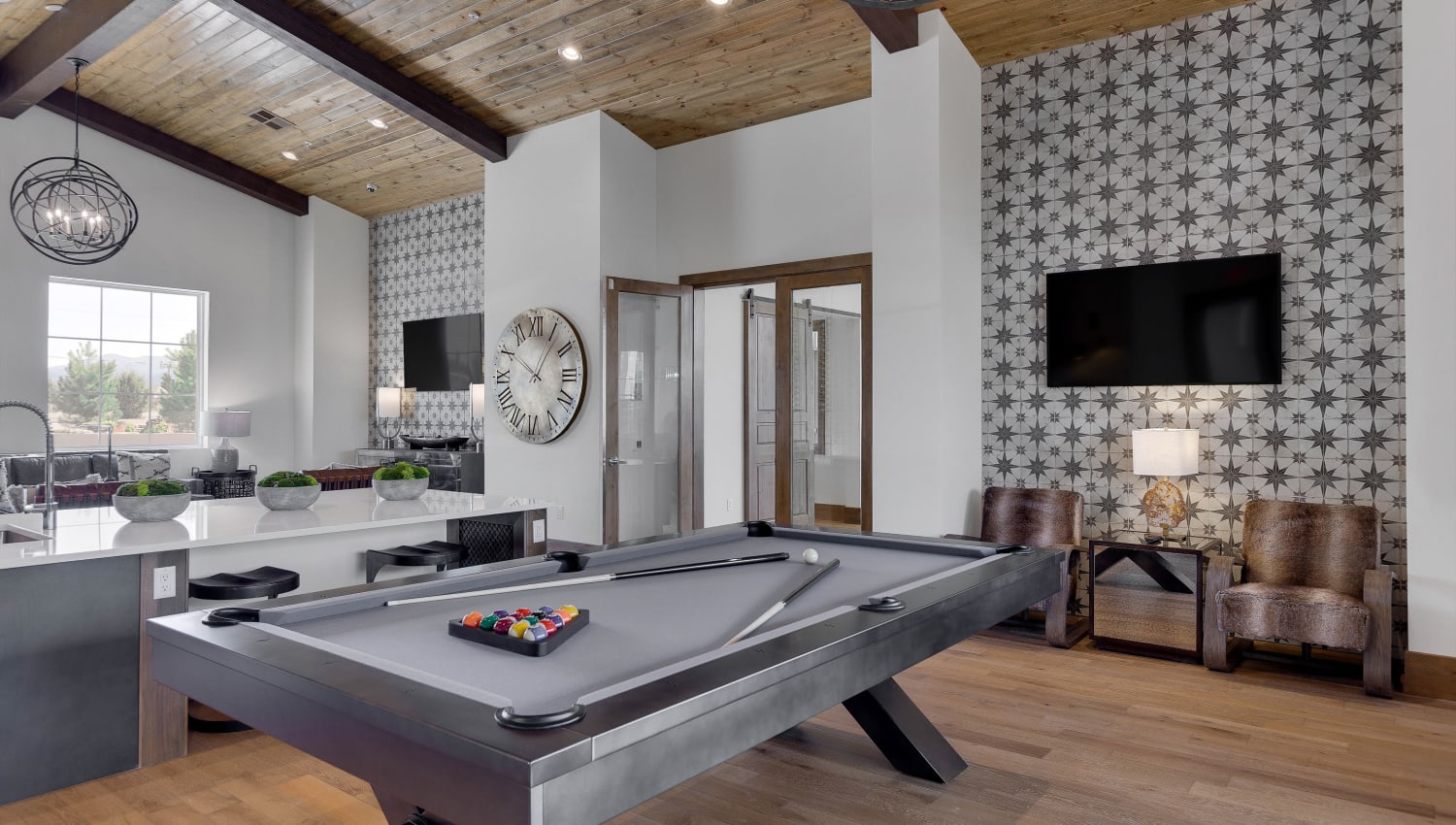 Billiard room and lounge at Olympus Rodeo in Santa Fe, New Mexico